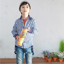 Girl Boy Blouse Autumn Clothes Striped Shirt Baby Girls Clothing Boys Long Sleeves Top Blue Number Printed Shirt Kids Clothes