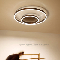 Dimming RC Brushed Coffee Finish Modern Led Ceiling Lights For Living Room Master Bedroom AC85 265V