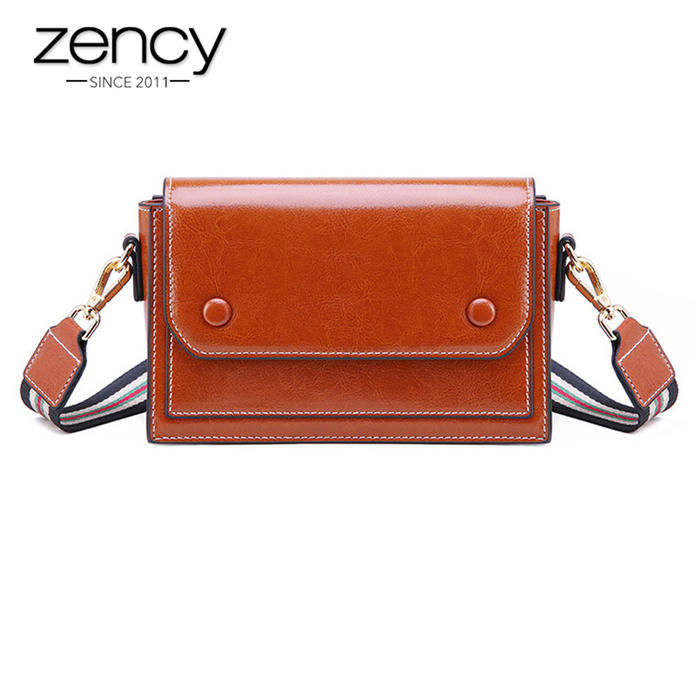 Zency Vintage Women Messenger Bag 100 Genuine Leather Luxury Brown Shoulder Bags Small Crossbody Purse High