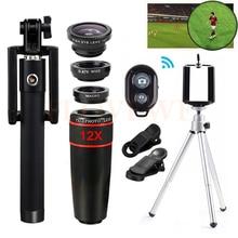 Teléfono celular lneses kit 12x zoom telefoto lente ojo de pez de gran angular macro lentes telescopio con selfie stick clip trípode smartphone