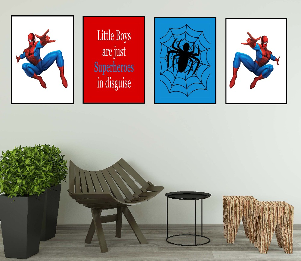 Cartoon SpiderMan Children Room Nursery Wall Art Canvas Poster Pictures For Living Room Marvel Comics Modern Home Decor Painting image