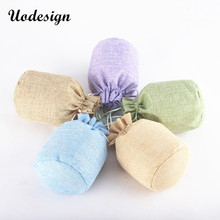 Купить с кэшбэком 50pcs Linen Drawstring Pouch Jewelry Packaging Bag Jute Pouch Burlap Party Candy Gift Round Bottom Packaging Bag