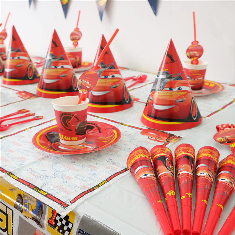 Hot Sale Disney Cars Disposable Cup Plate Family Party Kid Birthday Lightning McQueen Tableware Set Decoration Supply 53Pcs/lot