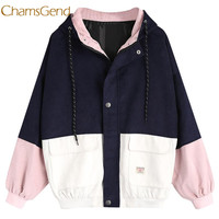 Chamsgend ceket kadın kış Kadife Patchwork Rüzgarlık Uzun Kollu Boy Fermuar Palto Giyim l1222
