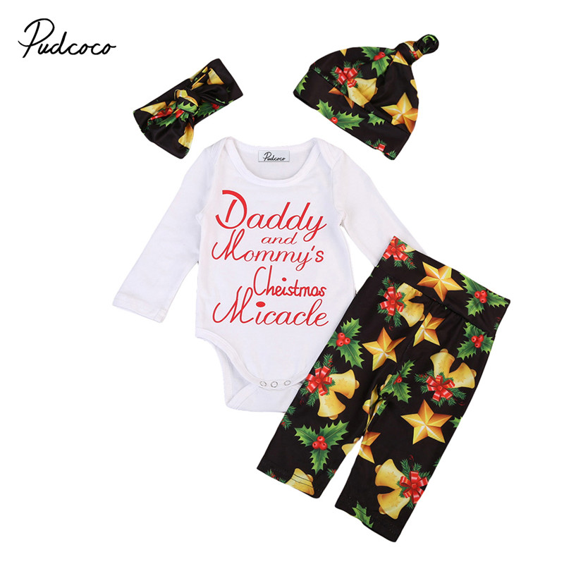 New Style Christmas Newborn Baby Girls Clothes Xmas Long Sleeve Romper+Floral Pant+Headband +Hat 4pcs Baby Clothing Set 0 to 18M