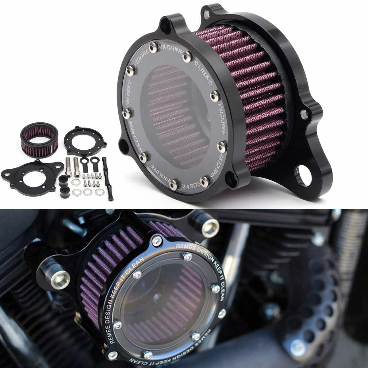 Set of Motorcycle Air Cleaner Intake Filter System Kit Aluminum for Davison Sportster 1988-2015 XL883 1200 2004-2015 1991-2016