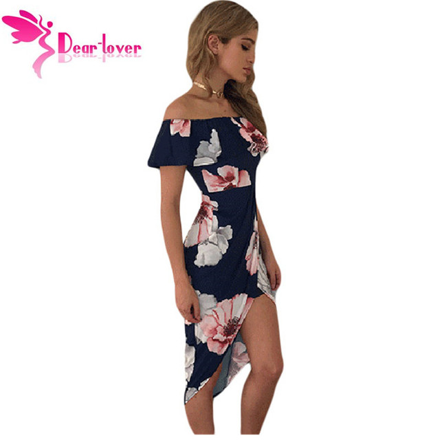 Dear Lover Print Dresses 2017 Summer Tropical Palm Leaf Ruffle Off Shoulder Wrap Boho Dress Mid-Calf Vestidos Estampado LC61572