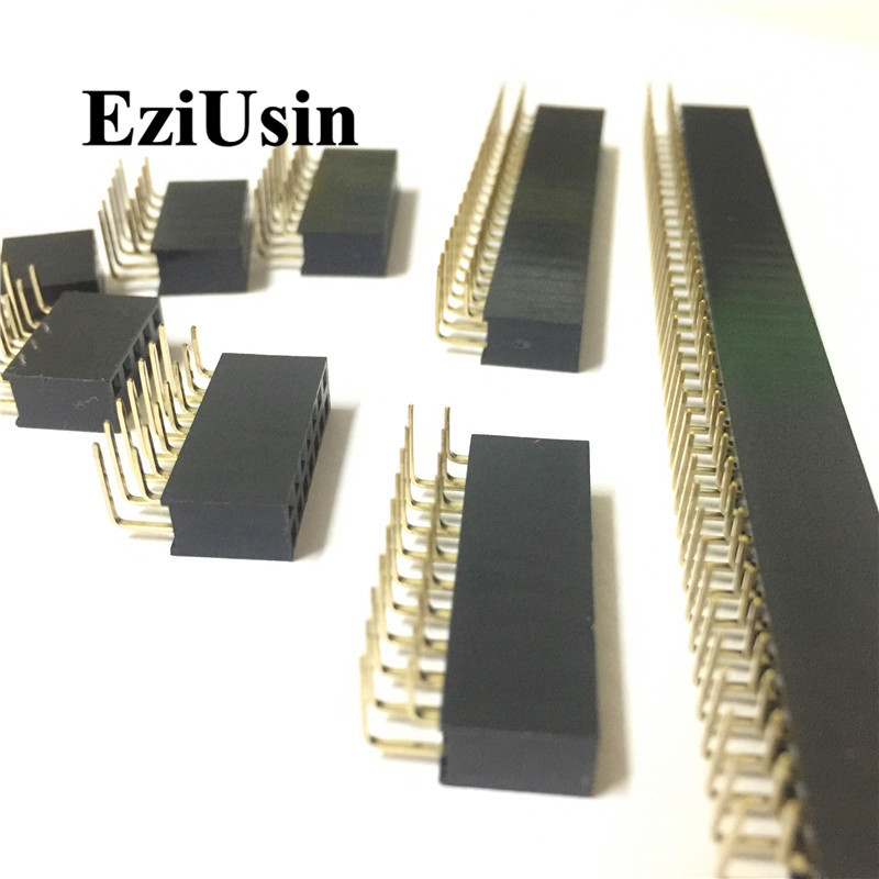 2.54mm R/A Double Row Female 2~40P PCB Board Right Angle Pin Header Socket Connector Pinheader 2*/4/6/10/20/40Pin For Arduino