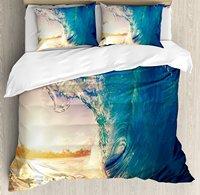 Ocean Duvet Cover Set Ocean Wave at Sunrise Reflection on Surface Tropical Trees Shoreline Summer Picture 4 Piece Bedding Set