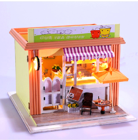 ФОТО New Arrive Diy Doll  House Port of star drink milk tea shop Small Dollhouse manual wooden model Creative birthday gifts Toy