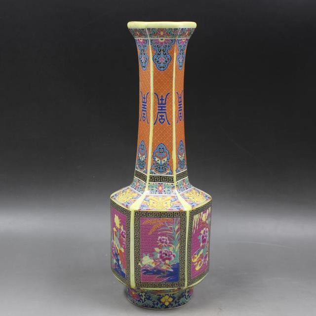 Antique Qingdynasty Porcelain Vaseenamel Color Hexagonal Long Neck