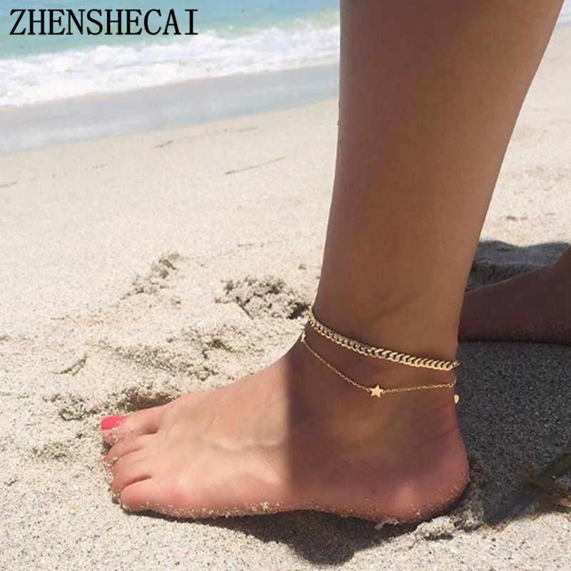 Boho Style Star Anklet gold sliver color Fashion Multilayer Foot Chain 2018 New Ankle Bracelet for Women Beach Accessories Gift