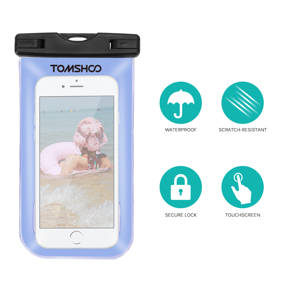 "Image 4 - TOMSHOO Waterproof Phone Case Dry Bag Outdoor Sports Pouch Transparent Touch Screen Cellphone Case for 6.0"" Devices-in Storage Bags from Home & Garden"