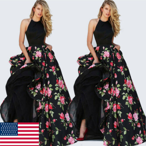 2019 Women Lady Satin Floral Long Black Print Backless Dress Club Wear Evening Party Gown