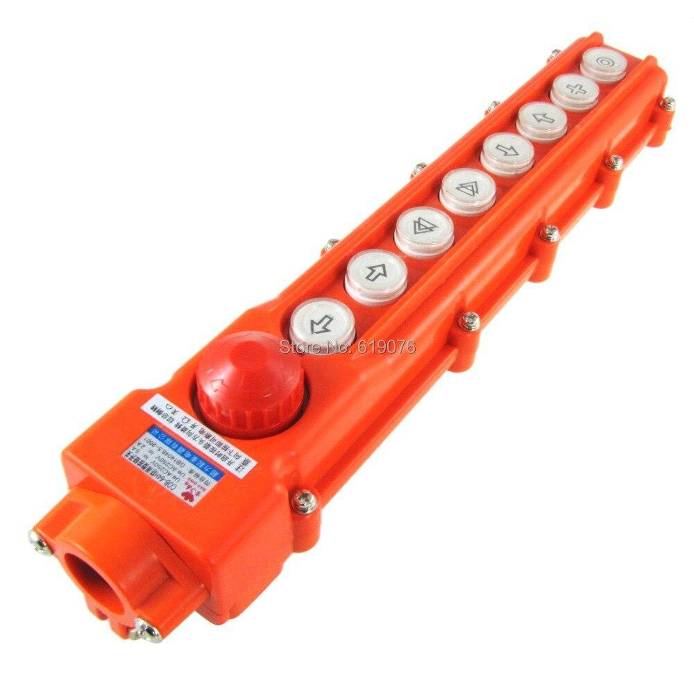 Rainproof 6 Ways Hoist Pushbutton Switch Pendant Control Station 250V 5A 500V 2A [vk] av044746a200k switch pushbutton dpdt 6a 125v switch