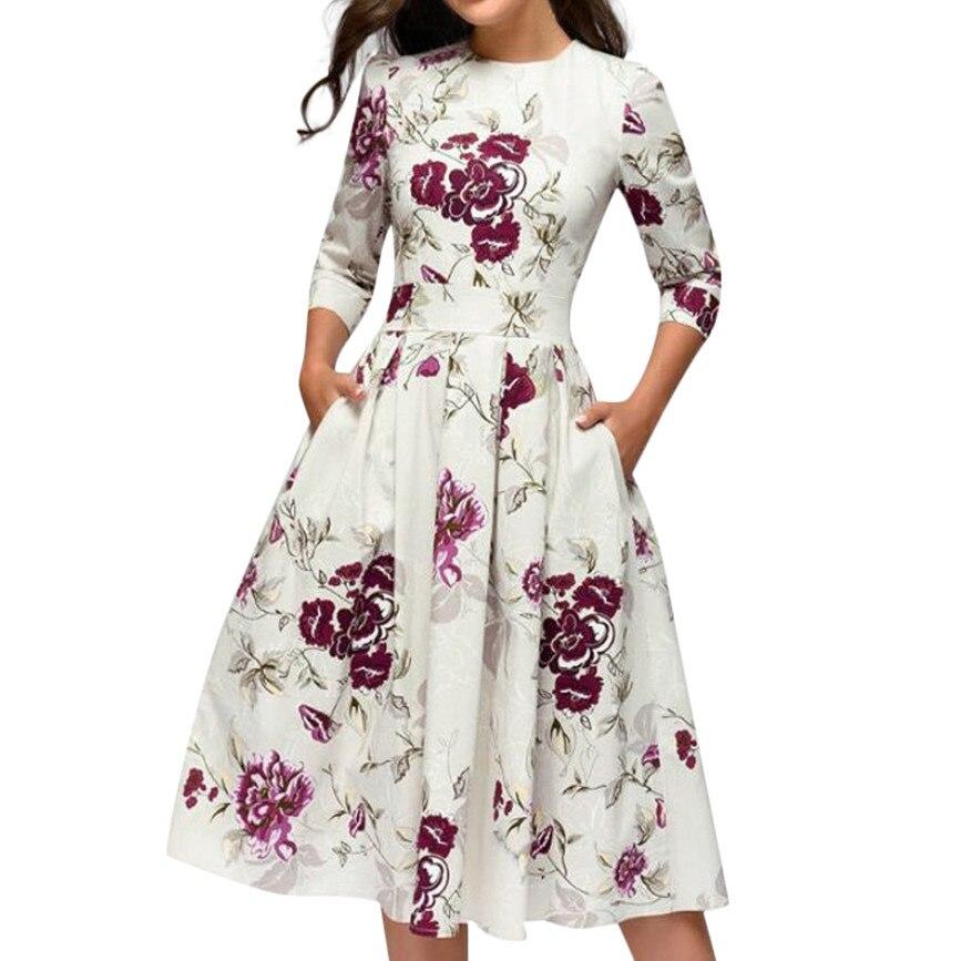 SAGACE 2020 New Summer Fashion Women dress Sexy Elegent A-line Vintage Printing Party O-Neck Print Mini Dresses sundress dress