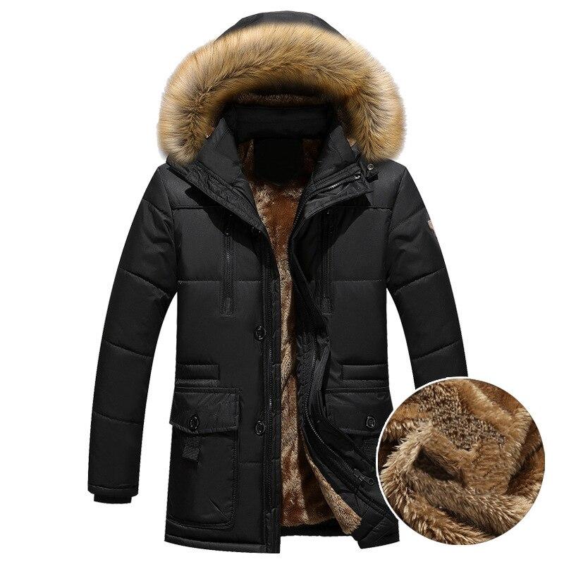 Thick Warm Parka Men Fleece Fur Hood Men Winter Jacket Coat Military Cargo Medium-long Mens Overcoat мужские кожанные куртки с косой молнией