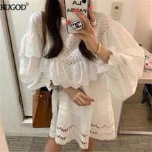RUGOD элегантное белое кружевное платье женское корейское модное мини-платье с оборками летнее Повседневное платье с рукавами-фонариками и круглым вырезом