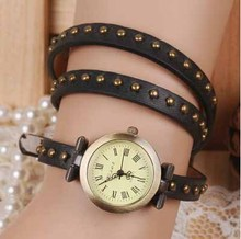 Vintage retro quartz watch 1pcs/lot quartz genuine long leather watches for man woman cow band wristwatch antique steampunk 2017