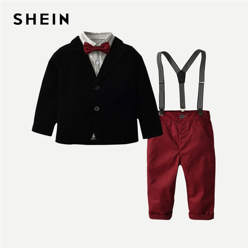 SHEIN Kiddie Toddler Boys Solid Black Outerwear And Bow Tie Striped Shirt With Overalls 2019 Preppy Long Sleeve Casual SuitSHEIN Kiddie Toddler Boys Solid Black Outerwear And Bow Tie Striped Shirt With Overalls 2019 Preppy Long Sleeve Casual Suit
