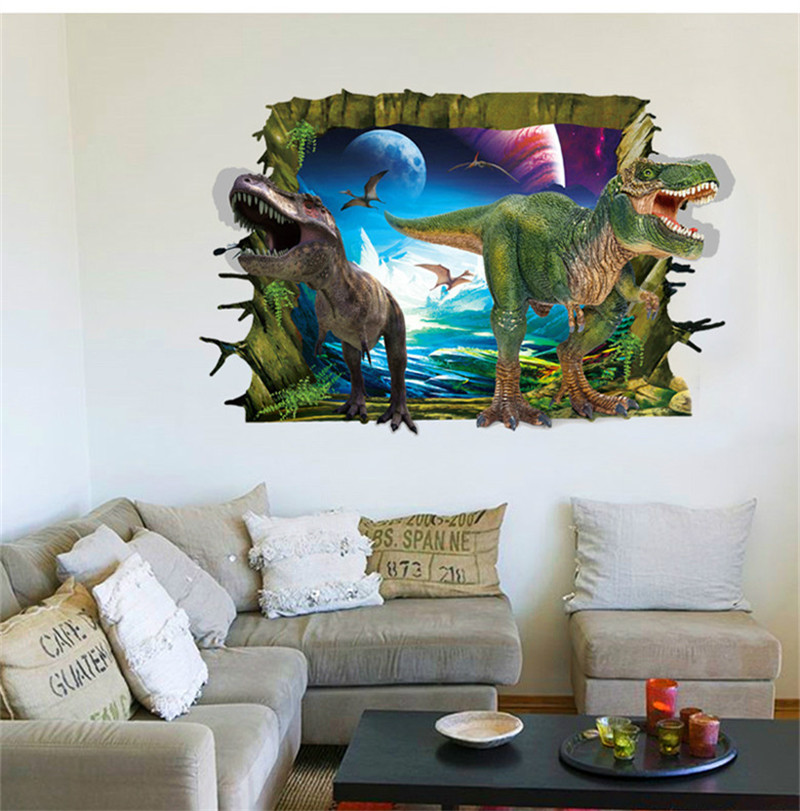 Newest 3d Dinosaur Park Through Wall Hole Cartoon Animals Home Decal Wall Sticker Kids Room Boys