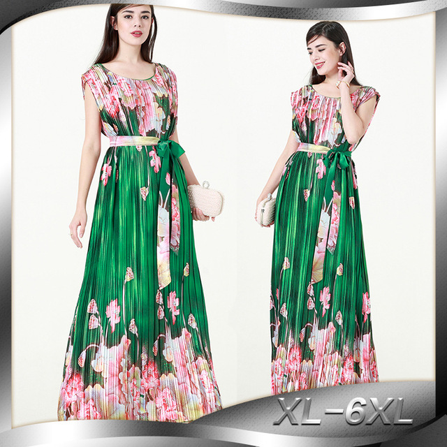 2019 European Women Summer Dress O Neck Sleeveless Plus Size 6XL Pleated Long Maxi Beach Dress Causal Club Party Floral Dress
