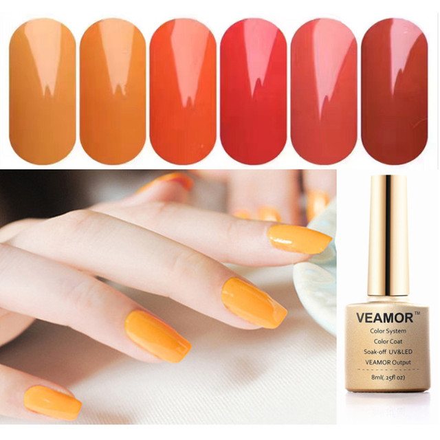VEAMOR 6PCS Pumpkin Color Nail Gel Polish 8ML UV Gel Nail Polish ...