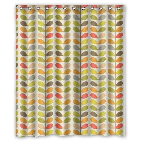 warm tour retro orla bladeren kiely mode douchegordijn polyester gordijn hotelbadkamer met haken ring72x72inch