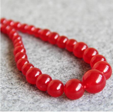 Women Gift gem beads jewelry Beautiful New 6-14mm Natural Red Jade Jasper Necklace women girls gift Round stones DIY
