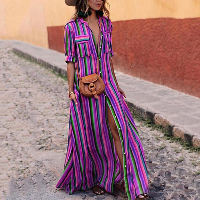 92fe7befaa3 2019 New Sprint Striped Summer Turn-Down Collar Pocket Bohemian Long Maxi Split  Dress Half Sleeve Vestido Colorful Beach Dress