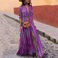 2019 новое летнее платье в полоску с отложным воротником и карманами в богемном стиле, длинное платье макси с разрезом, разноцветное пляжное платье с коротким рукавом Vestido - фото