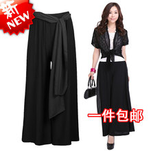 free shipping summer spring autumn fashion wide leg pants culottes casual loose fat leg black capris female trousers skorts