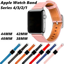 Genuine Leather strap For Apple Watch band 4/3/2/1 Bracelet Wristband Accessories Classic Buckle Iwatch Series 44/42/40/38mm