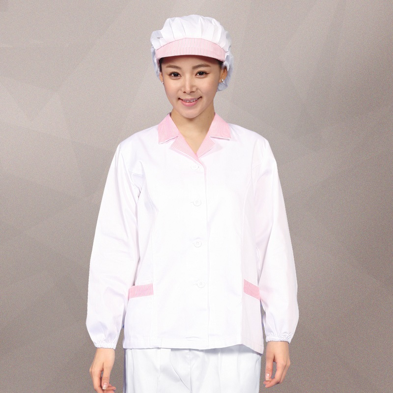 (10set Hat&Shirt)Health Food Factory Overalls Health Services Dusters Female Workshop Smock Long Sleeve Tooling Work Clothes