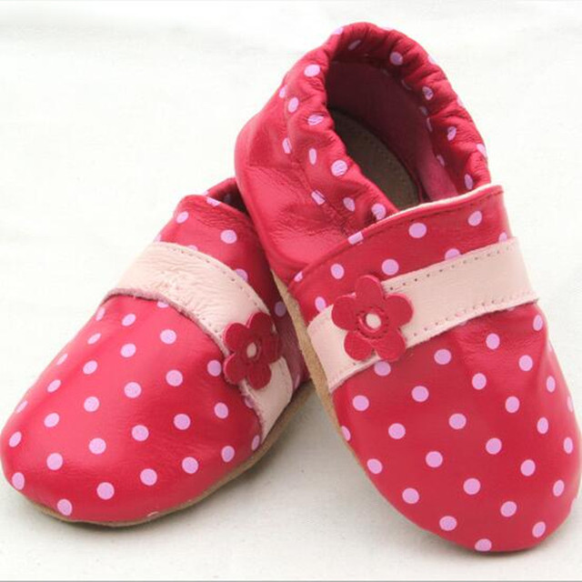 Spring Autumn Baby Girl High Quality Genuine Leather Shoes Fashion Polka Dots Floral First Walkers Infants Antislip Prewalker
