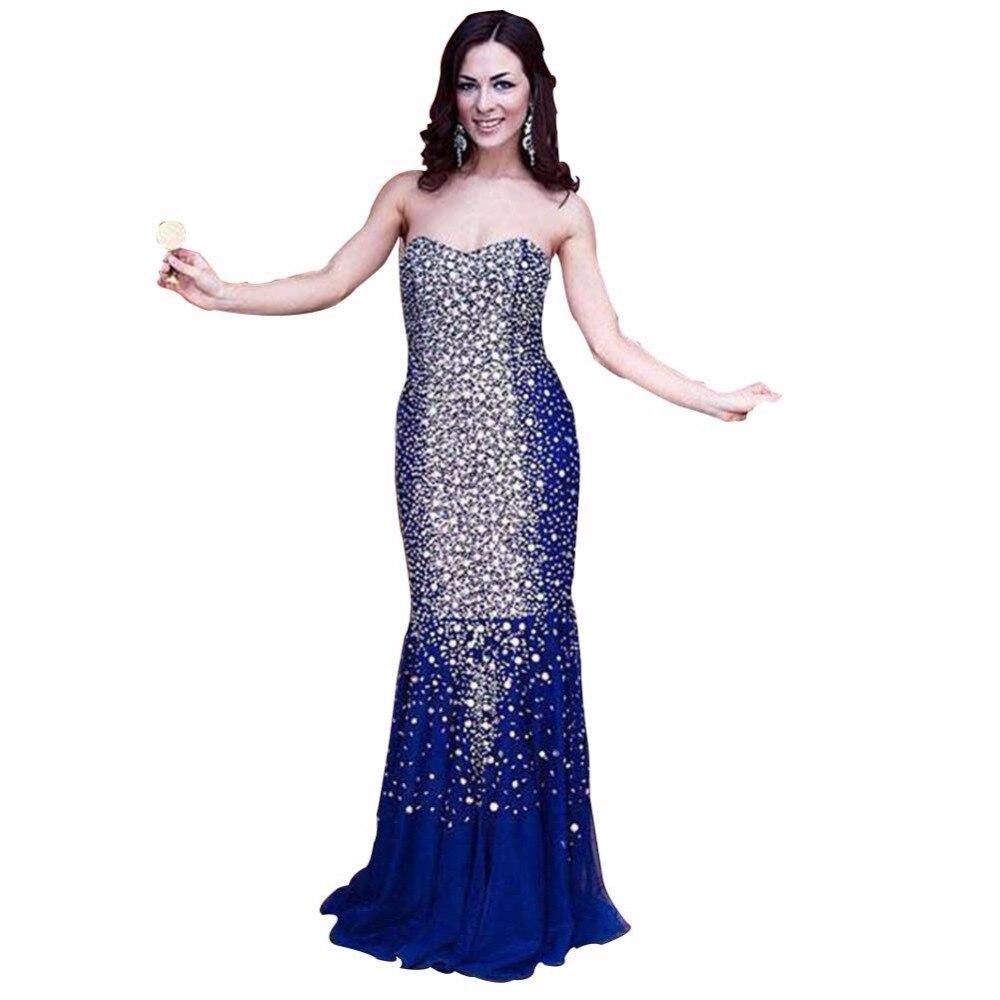 ZYLLGF искристый горный хрусталь бисером вечернее длинное платье элегантный рыбий хвост без бретелек торжественное женское вечернее платье