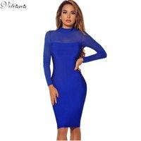 VITIANA Brand Women Long Sleeve Bodycon Dress Autumn Winter Black Blue See Through Slim Sexy Club