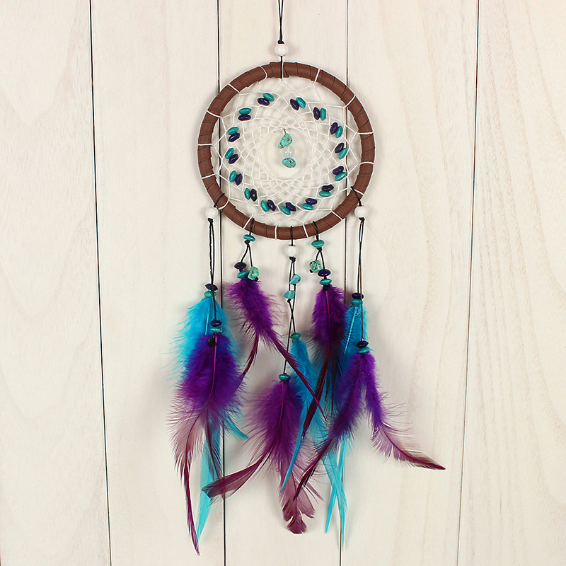 Antique Dreamcatcher Gift Decor Imitation Dream Catcher Net With natural stone Feathers Wall Hanging Decoration Ornament
