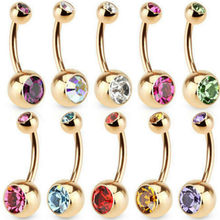 2019 New 828 Hot New Fashion Hot Selling 1 Pc Unisex 9 Colors Charm Golden Crystal Ring Body Piercing Jewelry Navel Belly Button(China)