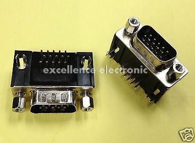 50 Pcs D-SUB VGA 15 Pin 90 degrees Male Right Angle PCB Connector 3 Rows Type usb charge dock sub pcb s010 sub