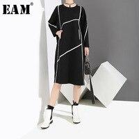 [EAM]2018 New Autumn Winter Round Neck Long Sleeve Black Lone Split Joint Loose Brief Large Size Dress Women Fashion Tide JI038