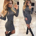 Hot Sale Women Autumn Dress Turtle Neck Pencil Bodycon Dress Long Sleeve Sexy Club Dresses Party Bandage Dress Vestidos