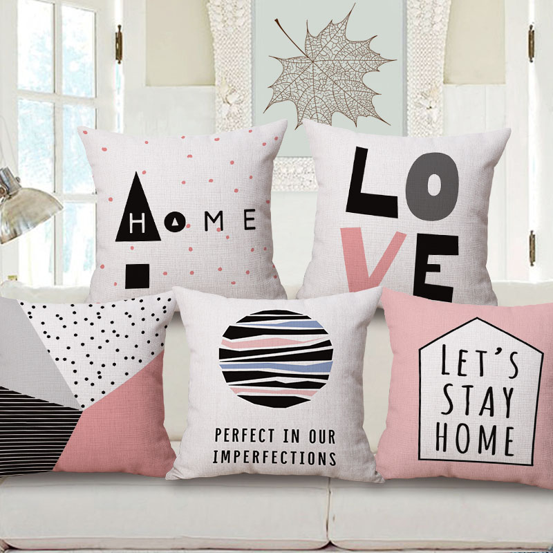 modern home decoration pink love chair couch throw pillow case nordic letters quote cojines high quality