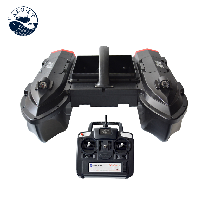 Two hoppers bait boat jabo boats with large bait tray for releasing bait for fishing free shipping factory price catamaran hull jabo 5a long distance two hoppers rc bait boat for releasing hook