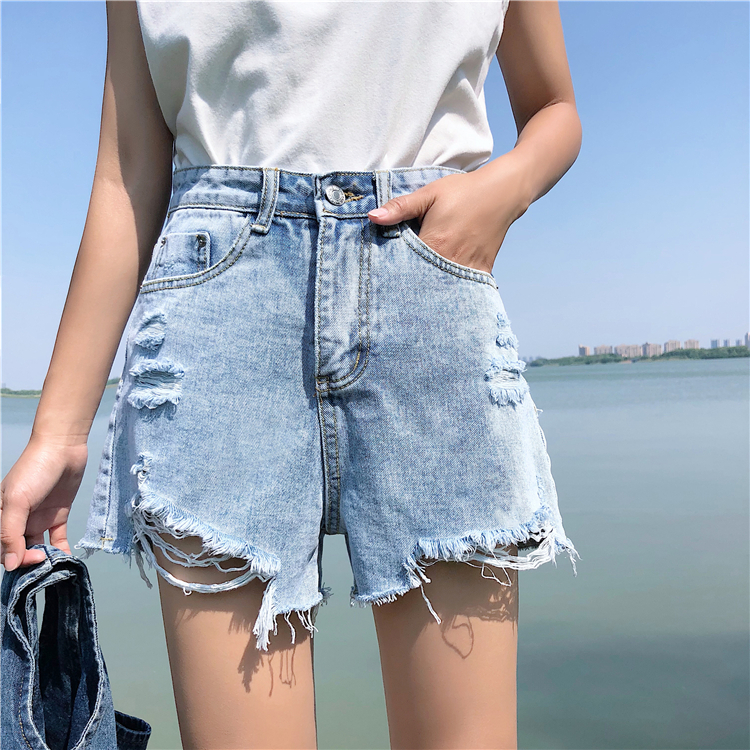 Jeans Bottoms B2458 New Style Spring And Summer 2019 Students Lace Embroidered Women Loose Wide Leg Hot Denim Shorts Cheap Wholesale