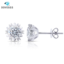 DovEggs 14K White Gold 2CTW 6.5mm FG Color Clear Heart and Arrows Cut Moissanite Stud Earring for Women Screw Back Earrings