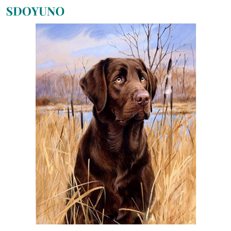 SDOYUNO Frame DIY Painting By Numbers Kit Dog Animals Acrylic Paint On Canvas Hand Painted Oil
