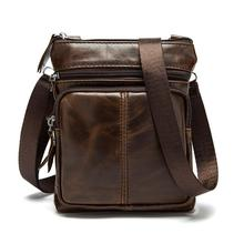 Vintage Brand Men Messenger Bag Genuine Leather Men's Bag Cowhide Business Leisure Single-shoulder Cross-body Zipper Small Bag