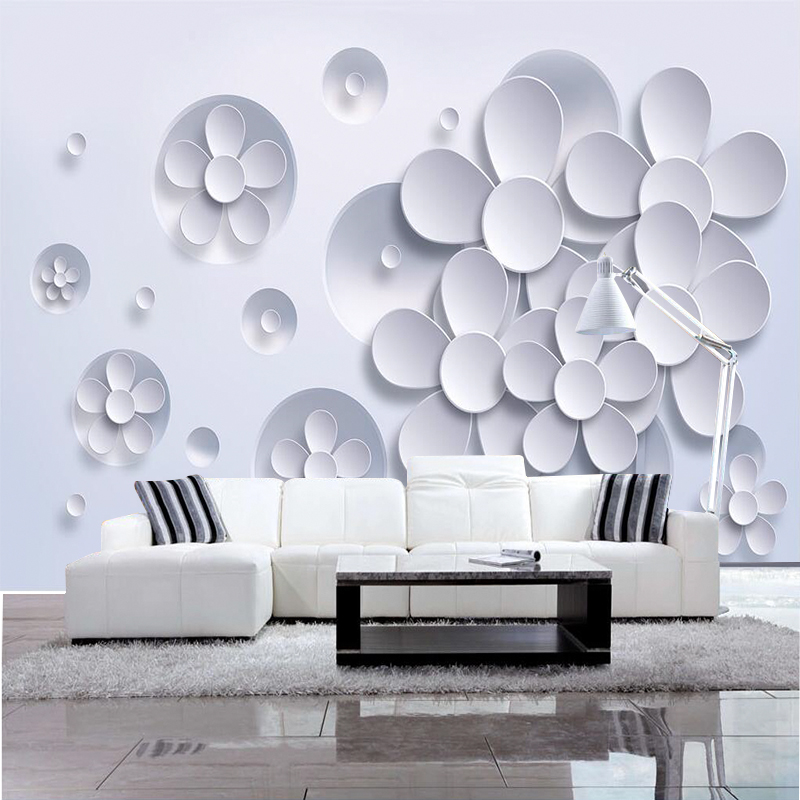 photo wallpaper wall painting modern art non-woven paper 3d TV contracted sitting white lotus flowers large mural wall paper 10m 53cm contracted non woven wallpaper warm sitting room the bedroom tv setting wall stickers waterproof abstract lotus flowers