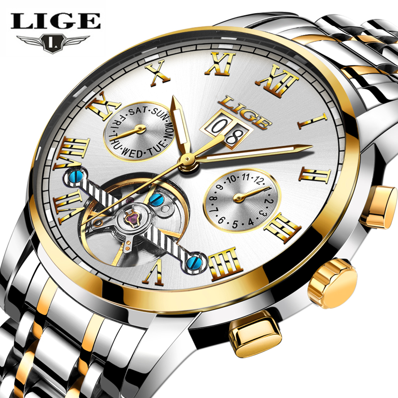 Mens Watches Top Brand Luxury LIGE Automatic Machinery Full steel Watch Men Fashion Casual Waterproof Clock Relogio Masculino forsining date month display rose golden case mens watches top brand luxury automatic watch clock men casual fashion clock watch